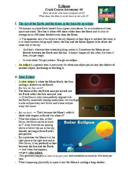 Crash Course Worksheets  Eclipses