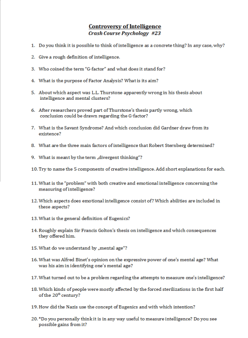 Crash Course Worksheets  Heres The Worksheet I Made To The