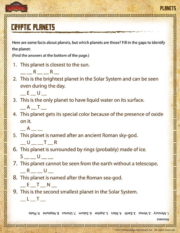 Cryptic Planets View Th Grade Science Printables Worksheets