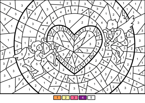Cupids And Heart Color By Number