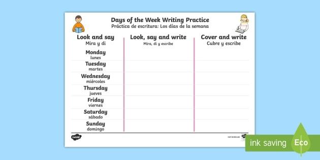 Days Of The Week Englishspanish Writing Worksheet