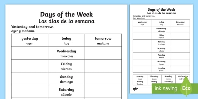 Days Of The Week Yesterday And Tomorrow Worksheet  Worksheet