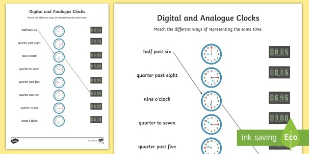 Digital And Analog Clocks Worksheet Teacher Made