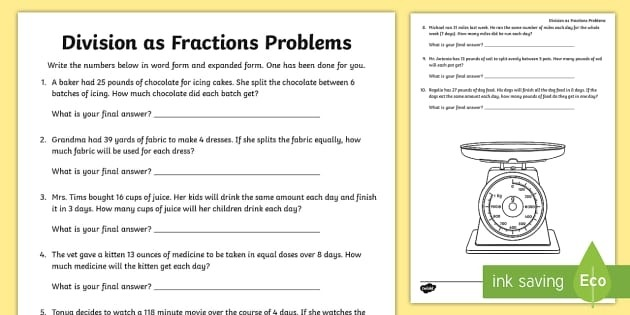 Division As Fractions Word Problems Worksheet Teacher Made