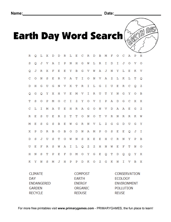 Earth Day Wordsearch Puzzle  Free Printable Ebook