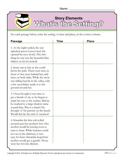 Elements Worksheet The Setting Structure Worksheets Rd Grade