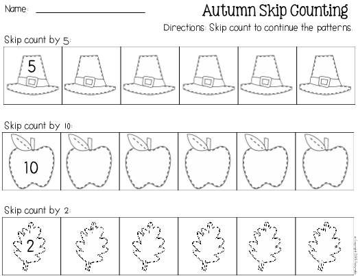 Fall Skip Counting Worksheet S  S  S