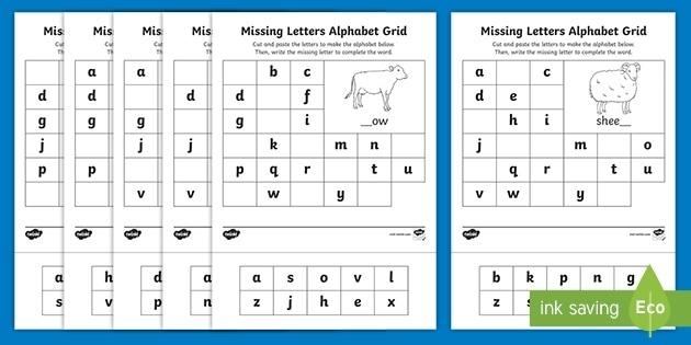 Farm Missing Letters Alphabet Grid Worksheet Teacher Made