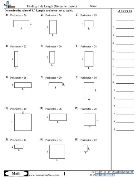 Finding Side Length Given Perimeter Worksheet