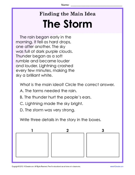 Finding The Main Idea Storm Worksheet For St Nd Grade Free
