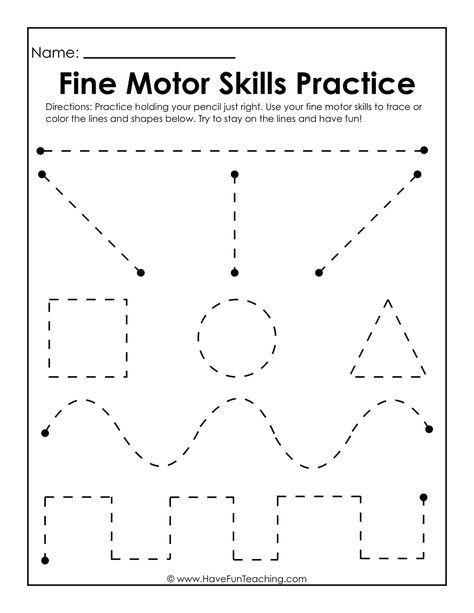 Fine Motor Skills Practice Worksheet In