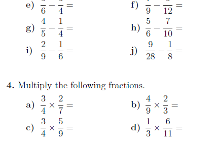 Fractions Worksheet With Solutions