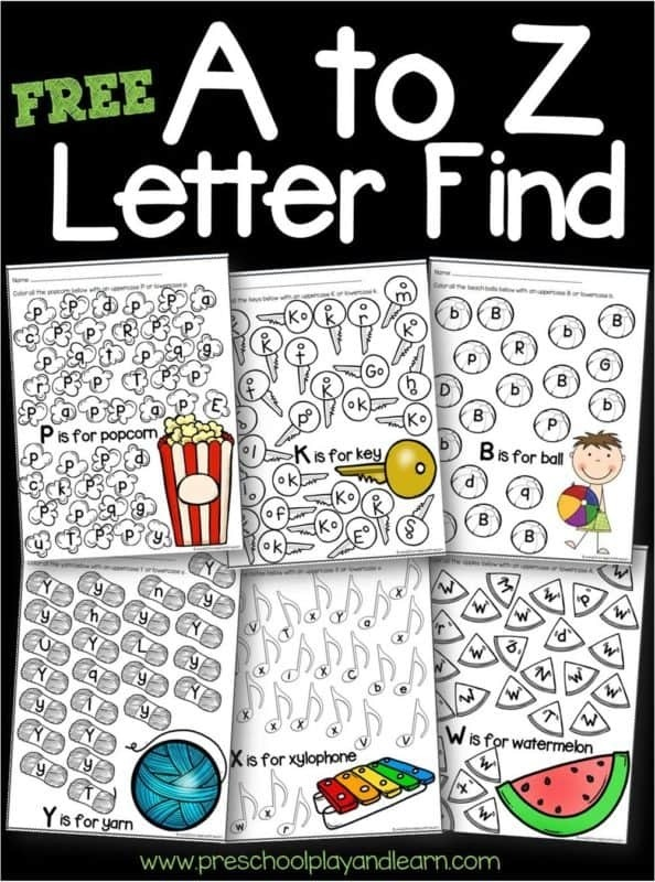 Free A To Z Letter Find Worksheets
