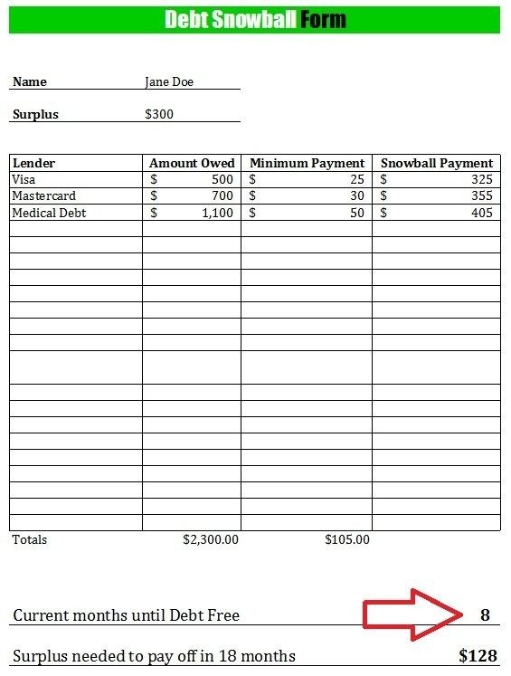Free Debt Snowball Form Worksheet Comes With Instructional Video