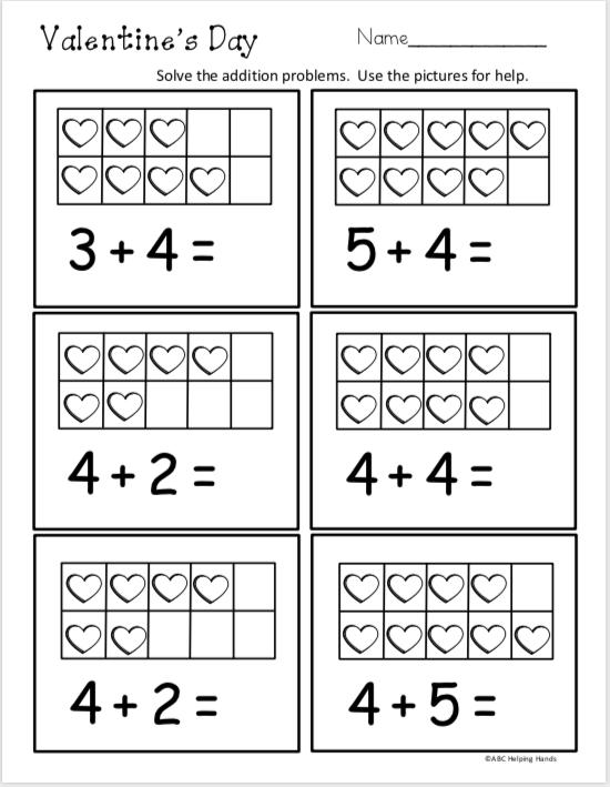 Free February Kindergarten Math