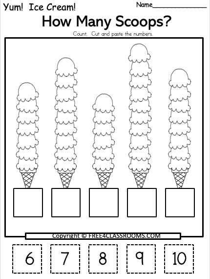 Free Kindergarten Cut Paste Math Worksheets