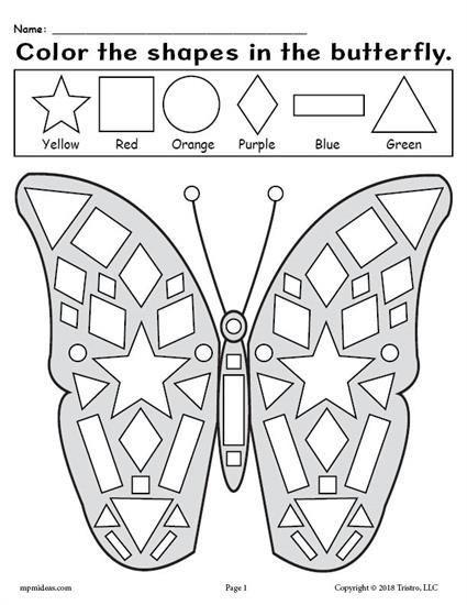 Free Printable Kindergarten Butterfly Shapes Worksheet Practice
