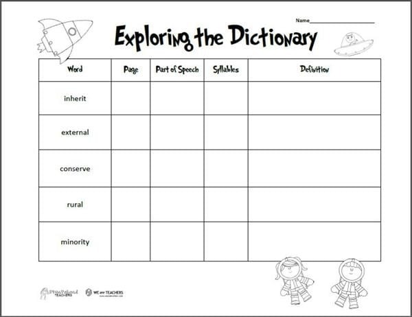 Free Printable Of The Week Exploring The Dictionary Grades