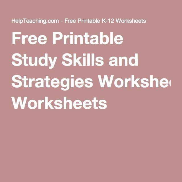 Free Printable Study Skills And Strategies Worksheets
