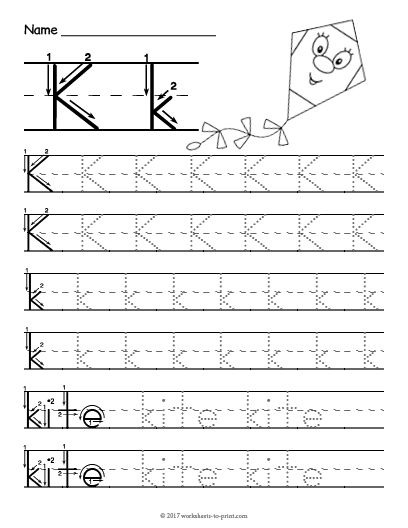 Free Printable Tracing Letter K Worksheet