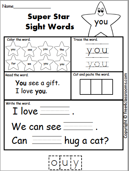 Free Sight Word Practice You