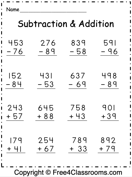 Free Subtraction And Addition Worksheet