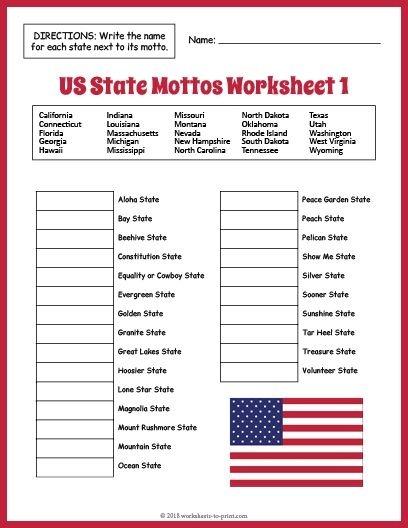 Free Us State Mottos Worksheet
