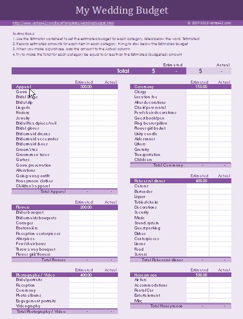 Free Wedding Budget Worksheet
