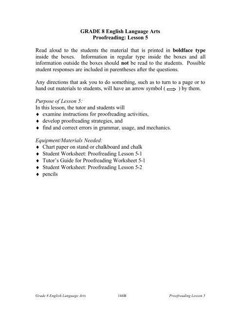 Grade  English Language Arts Proofreading Lesson  Read