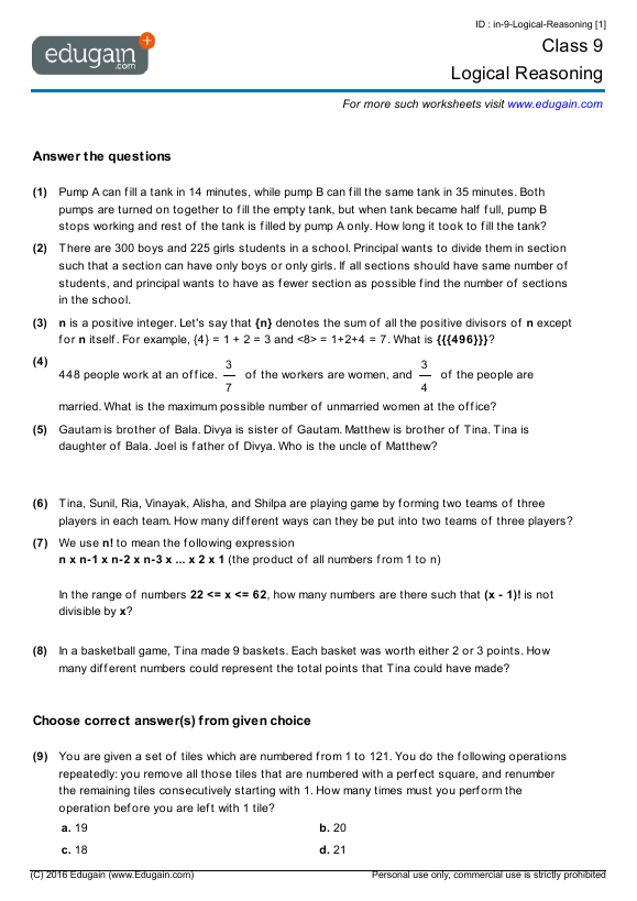 Grade  Math Worksheets And Problems Logical Reasoning