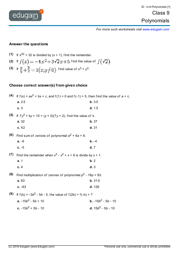 Grade  Math Worksheets And Problems Polynomials