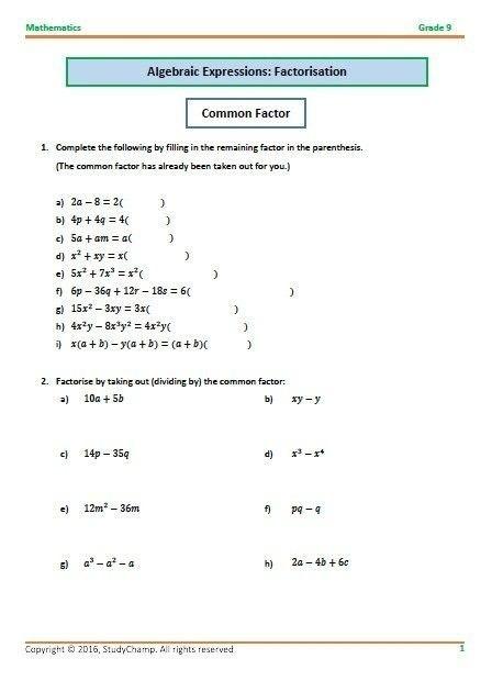 Grade  Mathematics Algebra