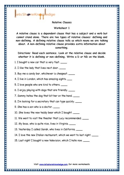 Grade English Resources Printable Worksheets Topic Relative