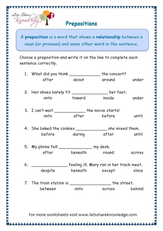 Grade Grammar Topic Prepositions Worksheets Lets Share English On