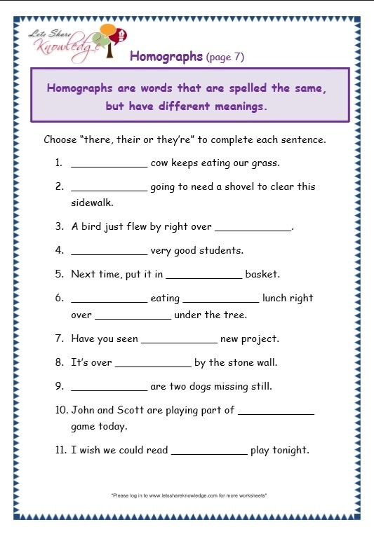 Grade Grammar Topic There Their They Re Worksheets Lets English