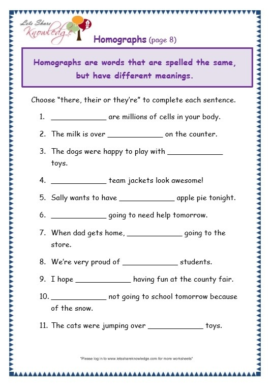 Grade Grammar Topic There Their They Re Worksheets Lets Year