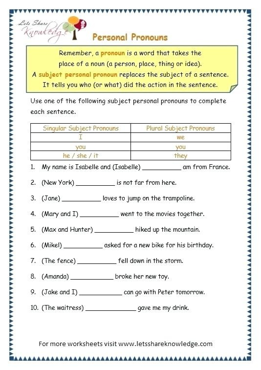 Grammar Worksheets For Grade Dailycrazynews English Topic Personal