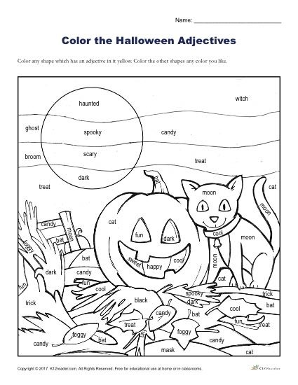 Halloween Adjectives Printable Coloring Activity Worksheets Nd