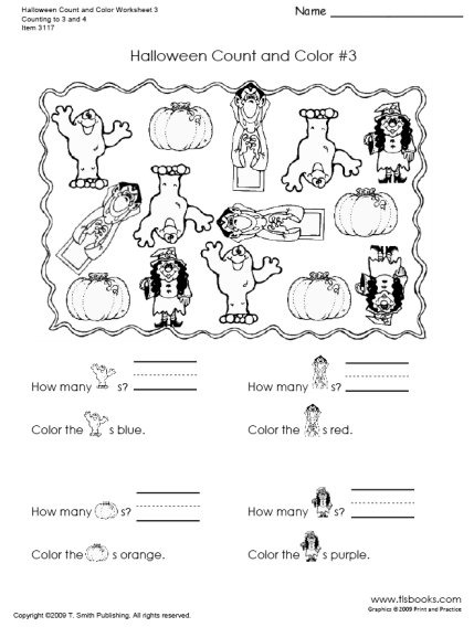 Halloween Count And Color Worksheets Fun Elementary