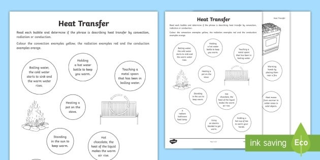 Heat Transfer Worksheet Conduction  Convection And Radiation