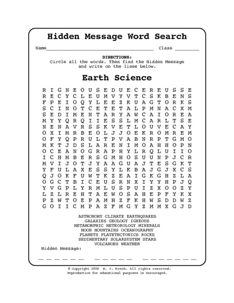 Hidden Message Word Search Earth Science Worksheet For Th Th Th