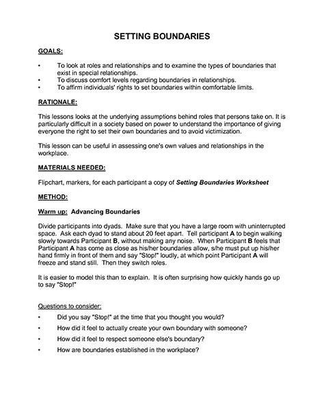 Image Result For Healthy Boundaries Worksheets For Adults