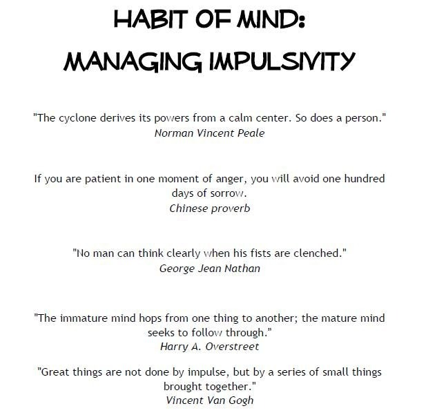 Impulsivity Control Worksheets