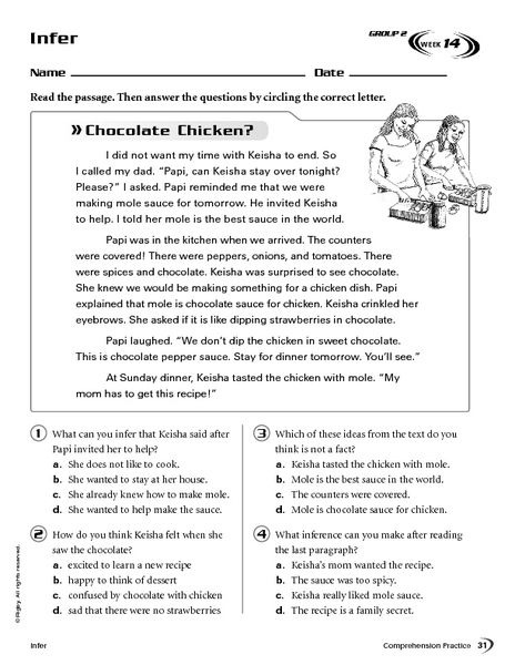 Infer Chocolate Chicken Worksheet For Th Th Grade Inference