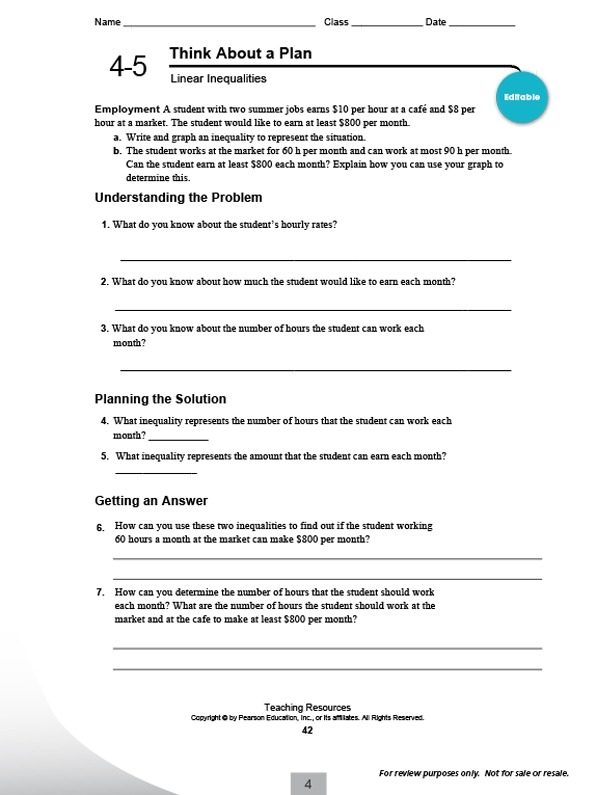 Integrated Math Worksheets Carnegie Learning Pearson Education