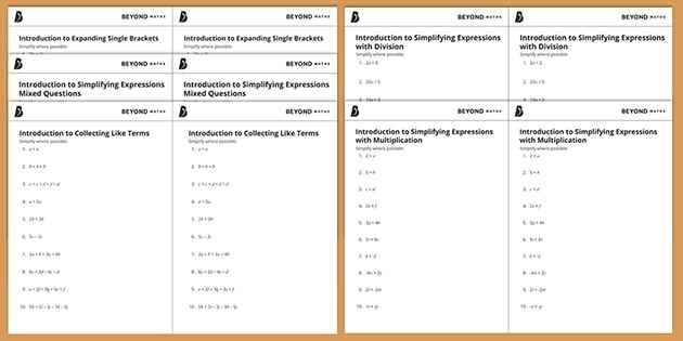 Introduction To Simplifying Algebraic Expressions Pack