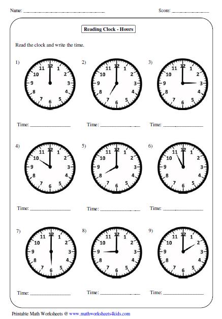 Kindergarten Telling Time Worksheets  Mreichert Kids Worksheets