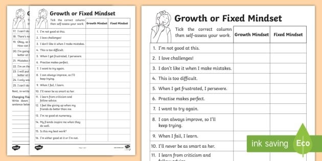 Ks Growth And Fixed Mindset Comments Worksheet Worksheets