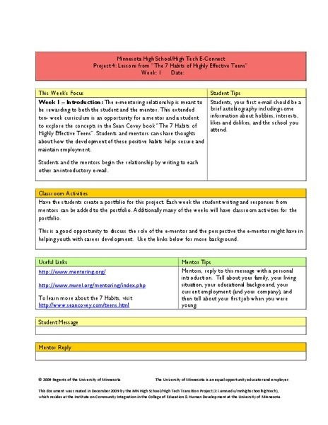 Lessons From The  Habits Of Highly Effective Teens Unit For Th