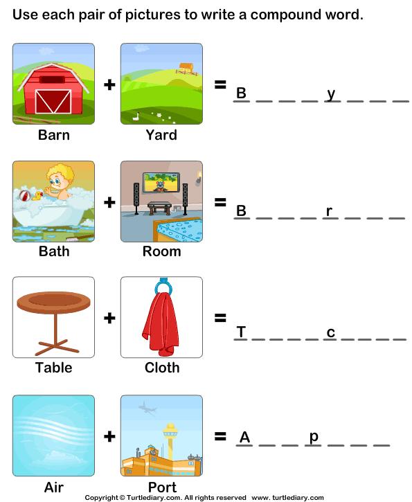 Make A Compound Word Worksheets For Kindergarten